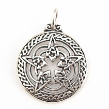 Solid Sterling Silver Rose Pentacle Pentagram Pagan Pendant for Protection P005