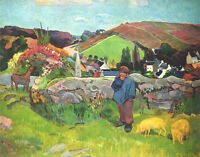 Oil painting Paul Gauguin - Breton Shepherd with his sheep in landscape canvas