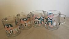 Anchor Hocking Glass Coffee Mugs 1989 Vintage Cups Blue Houses Fence Lot 4 10 oz