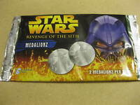 2 PACKETS STAR WARS MEDALIONZ COLLECTORS COINS REVENGE OF THE SITH SEALED NEW