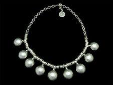 Silver Choker Necklace Large Drop Circle Beads Turkish Ottoman Boho Gypsy Ethnic