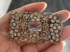 Stunning Vintage Art Deco Silver & Rock Crystal? Rectangke Brooch