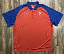 Nike 3XL Baseball MLB Philly Phillies Red Authentic Collection DriFiT Polo XXXL