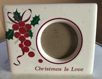"Christmas is Love Photo Picture Frame Russ Ceramic Vintage 3x4 3.5""x4"" 3""x4"""