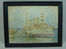 Antique Span Am or WWI Watercolor Painting of Battleship Signed P.M. Owens