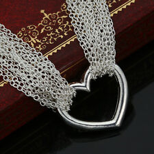 """Women's 925 Silver Heart Charms Mesh Net Chain Necklace 16"""" Engagement Jewelry"""