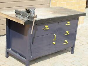 Werkbank Werktisch Arbeitstisch 150cm mit Schraubstock