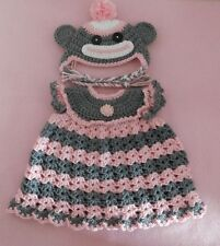 American Girl Doll Clothe Crochet Pk Sock Monkey Dress Hat Fit American Girl 18""
