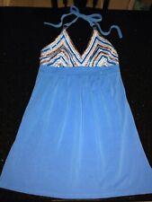 VICTORIAS SECRET~BRA TOPS~ COPPER SPARKLY SEQUIN HALTER DRESS~cover BLUE SMALL S