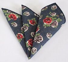 Hankie Pocket Square Cotton Handkerchief Denim Blue with Red & Mauve Roses CH118