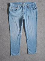 Womens Levis BOYFRIEND Tapered Light Blue Loose Slouch Crop Jeans Size 14 W32