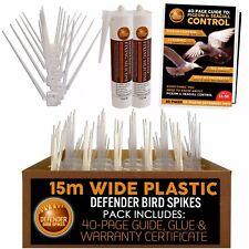 Defender Wide Plastic Bird Spikes & Pigeon Spikes | 15 Metre | Glue | Bird Guide