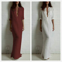New Long V-neck Cotton Linen Dress Loose Women Flax Skirt Ethnic Plus Dress
