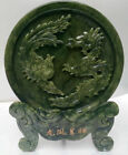 100% Chinese natural jade hand carved statue of dragon & phoenix RR388