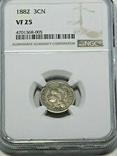 1882 Three Cent Nickel NGC VF25 Bright with Nice Original Luster #513S