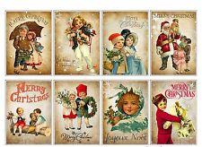 8 Christmas Vintage Victorian Hang Tags Scrapbooking, Journaling Cards (110)