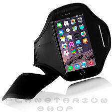 BLACK SPORTS ARMBAND POUCH CASE FOR APPLE IPHONE 6 PLUS RUNNING JOGGING NEOPRENE