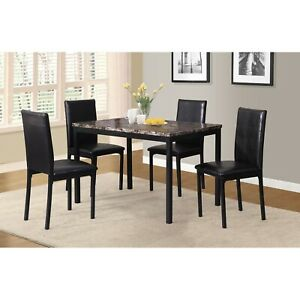 Dinner Table Set Table And Chairs Marble Table Roundhill Furniture 5-Piece Black