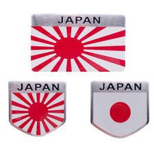 3pcs/Set Japan Rising Sun Flag Emblem Japanese Shield Car Sticker Badge Alloy