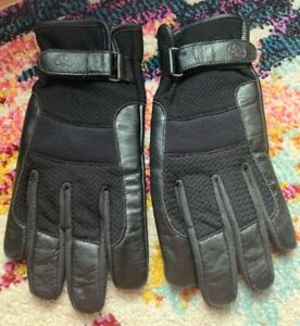 YAMAHA BLACK MOTORCYCLE LEATHER GLOVES WOMENS LARGE GUC