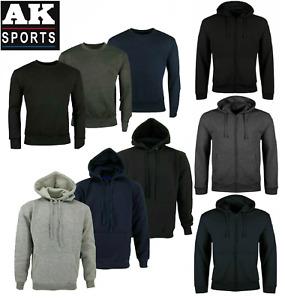 Mens Zip Up Fleece Hoodie Crew Neck Sweatshirt Warm Jacket Hooded Track Top SIZE