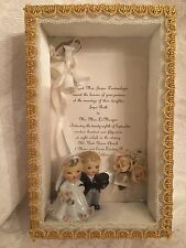 Vintage Lefton Bride & Groom Wedding Cake Topper Figurine 1950's Shadow Box