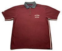 ⭐️Hilfiger Athletics Polo Shirt Size L Quarter Zip Burgundy Red Side Stripe SS⭐️