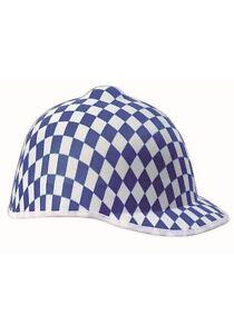 Blue Jockey Checkered Hat
