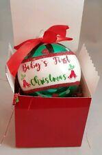 "Baby First Christmas Glass Ornament  Gift Green Ball Stocking Stuffer 3.5"""
