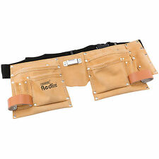 DRAPER 10 POCKET LEATHER CARPENTERS BUILDERS TOOL NAIL DOUBLE POCKET POUCH BELT