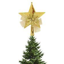 KRAFTZ® 15cm Christmas Decoration 3D Golden Star, Bow & Flower Tree Topper