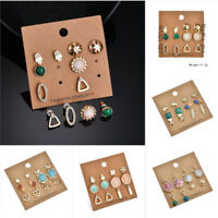 6Pairs Fashion Women Earrings Set Rhinestone Crystal Pearl Ear Stud Jewelry