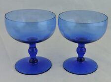 VINTAGE WINE/CHAMPAGNE COUPE BLUE GLASS PAIR STEMWARE BARWARE DRINKWARE