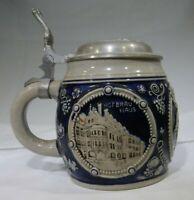 Vintage German Souvenir Lidded Munich Beer Stein Tin Top MT