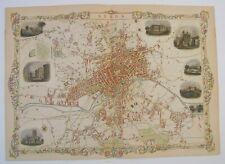 Leeds: antique city plan by Tallis & Rapkin, c1851