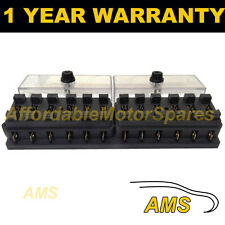 NUOVO 12 modo standard universale 12V 12 VOLT ATC BLADE FUSE BOX / copertura MARINA
