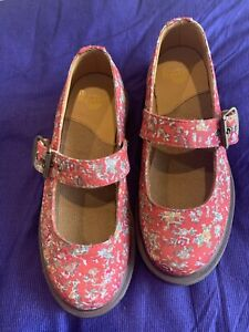 Dr. Martens Mary Janes Red Floral Buckle White Green NWOT  US 5 UK 3 EU 36 Shoes