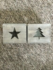 Rustic Wooden Tealight Holders - Star or Tree  Available New