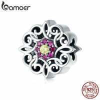 BAMOER Genuine S925 Sterling silver Women Charm Retro kaleidoscope &CZ Fit Brace