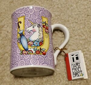 New Mary Engelbreit Enesco Coffee Mug Letter U - Unicorn Umbrella -New With Tags