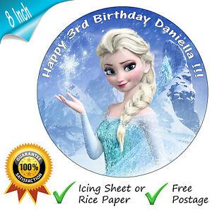 DISNEY FROZEN ELSA BIRTHDAY CAKE EDIBLE ROUND PRINTED CAKE TOPPER DECORATION