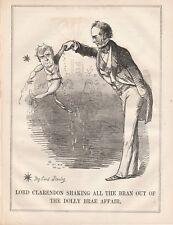 1850 Punch Cartoon Lord Clarendon Shaking Bran Dolly Brae Affair Stanley
