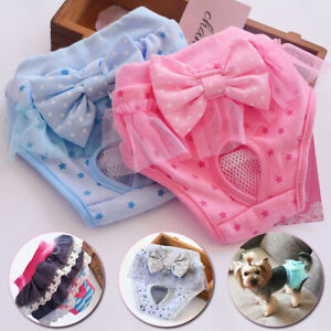 New Female Dog Diaper Sanitary Physiological Pants Briefs Princess Pet Panties