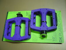 "DK Plastic Pedals 1/2"" PURPLE Platform for 1-piece Cranks BMX MTB PC"