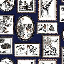 Holden Decor - Safari Animals Exotic Lion Frames Wallpaper - Navy / Copper 90072
