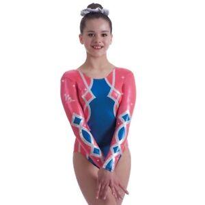 "New Milano Harlequin Long sleeved Gymnastic leotard - 28"" age 7-8 Years"