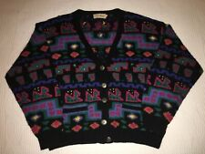 VINTAGE LL BEAN WOOL SWEATER WOMENS MEDIUM M AZTEC CARDIGAN 80s 90s NORDIC RETRO