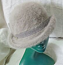 VINTAGE SOFT STRUCTURE BOWLER HAT FRENCH GREY SELF BAND LEAF CHAIN SMART CHIC