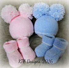 Dk Baby Knitting Pattern instructions to knit unisex Hat Booties Set Boys Girls