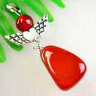 Carved Tibetan Silver Wing Red Jasper Trapezoid Pendant Bead